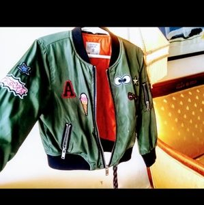 Kids unisex 4/5 Bomber Jacket Patches Olive Green